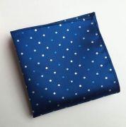 Zvětšit fotografii - modrý kapesníček do saka s puntíky